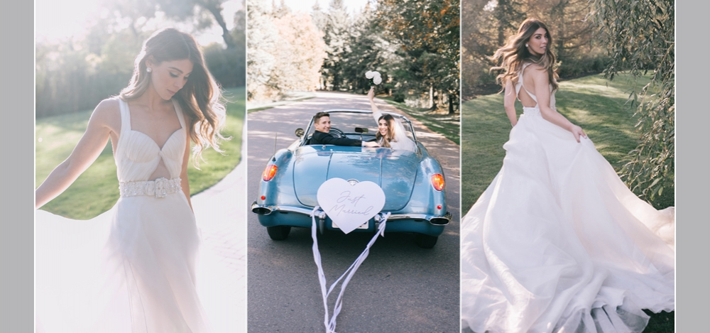 beautiful bride in white, Just married leaving in car