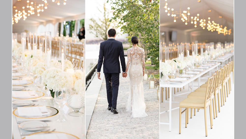 white wedding flowers, modern wedding , gold chairs , tent wedding