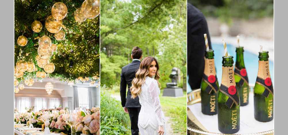 wedding flowers, bride looking at the camera, mini bottles of Moet champagne
