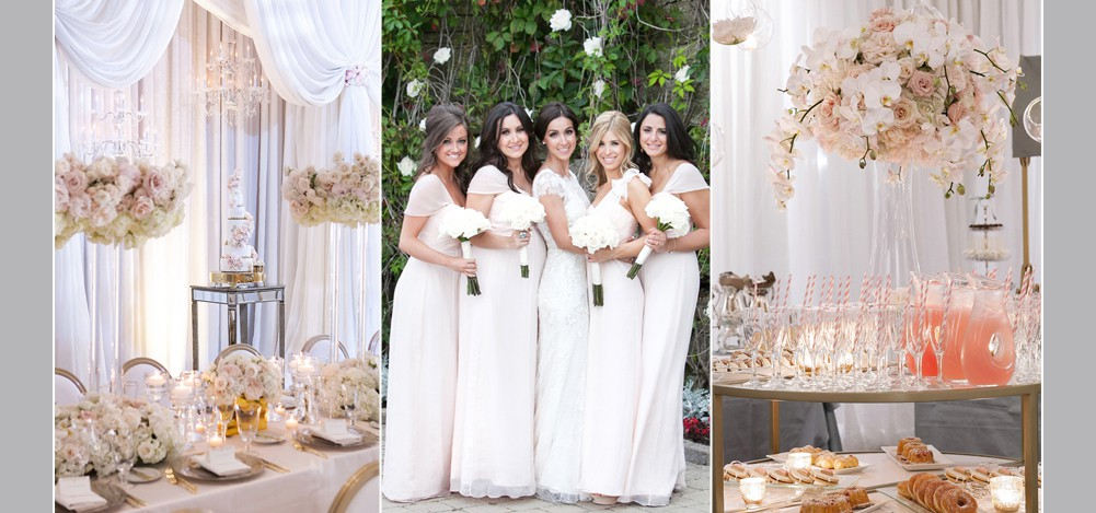 sweet table with donuts and lemonade, bridesmaids wearing blush dresses and holding flowers, wedding cake and flowers