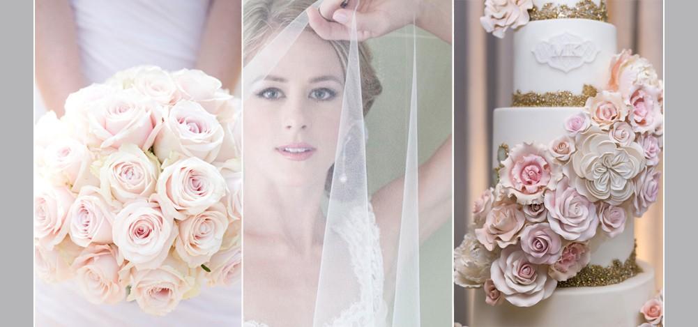 ballerina bride, blush rose bouquet, wedding cake with blush sugar flowers and gold details