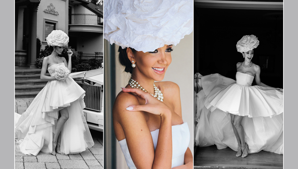 fashionista bride, bride is wearing a designer dress and jewelry by Dior