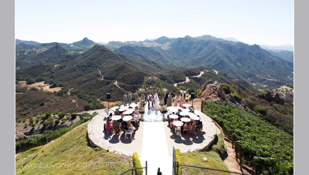 destination wedding, ceremony in a winery, Malibu wedding ceremony