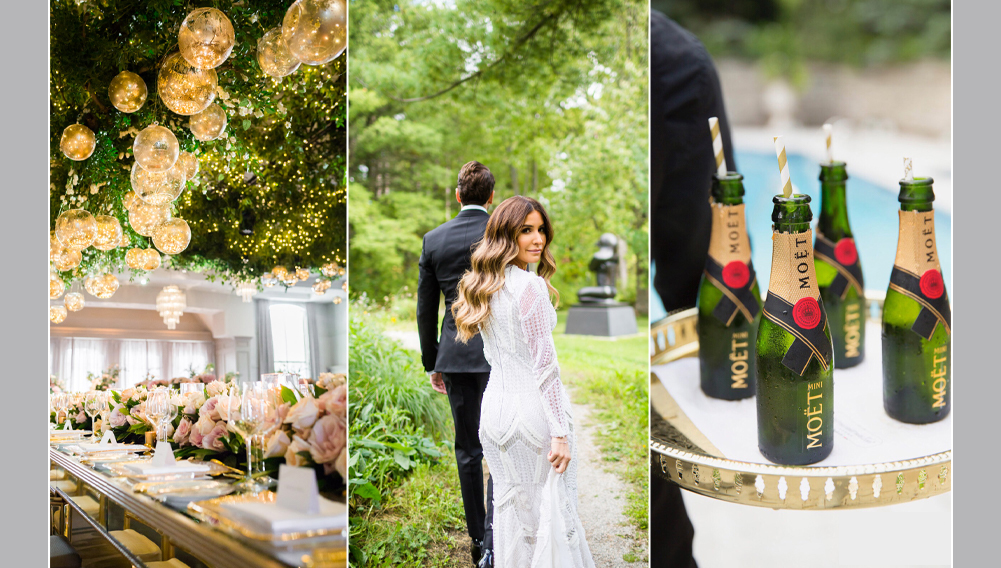 wedding couple taking pictures, wedding decor with lights and greenery , mini bottles of Moet champagne