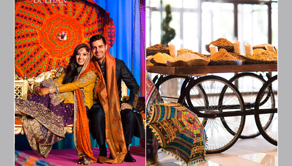 wedding couple, Indian wedding decor on traditional cart, sangeet decorations with umbrellas