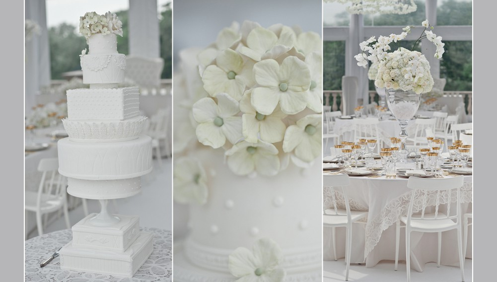 all white wedding decorations, white wedding milk glass cake, white sugar flowers on wedding cake, white centrepieces