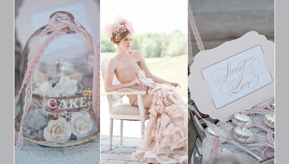 bride wearing blush coloured vera wang dress, wedding cake under a cloche