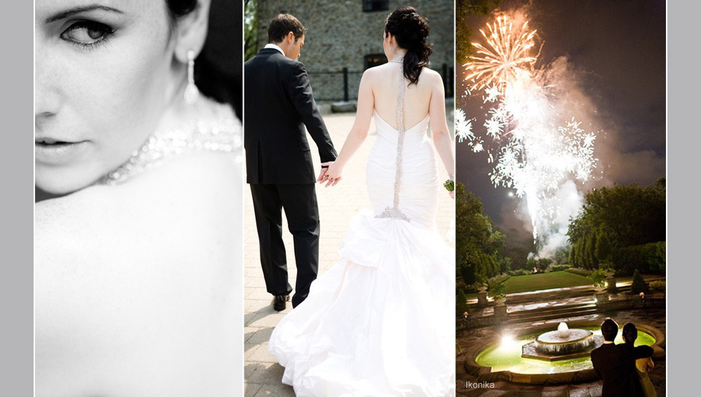 wedding couple taking pictures, wedding day fireworks, bridal picture