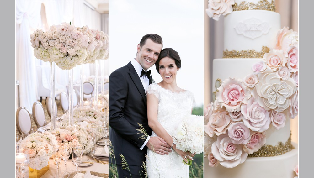 bride and groom smiling at camera, wedding cake with blush sugar flowers, white centrepieces, luxury over the top wedding decor