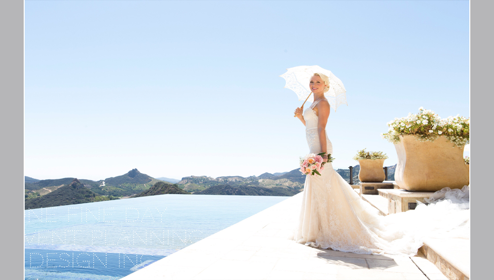 bride standing beside an infinity pool taking wedding day pictures, Malibu California destination wedding