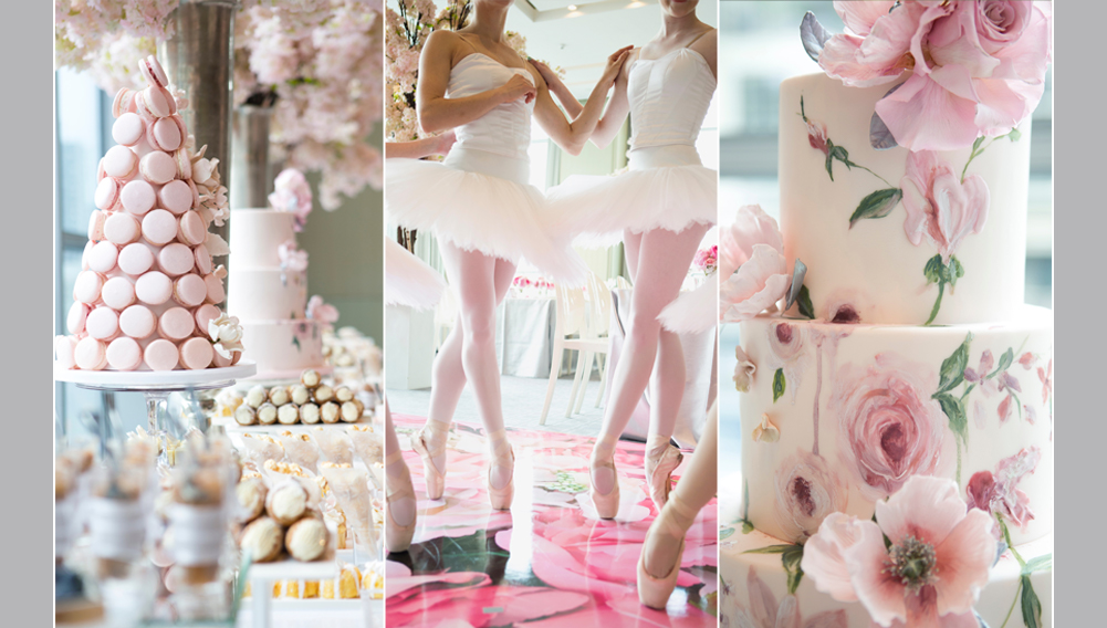 bridal shower, ballerina performance, cake and macaroon tower, sweet table display