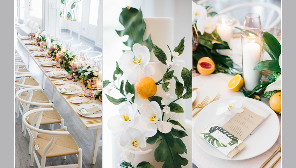 bridal shower decor, cain back white chairs at white wood tables, flowers are white and green with citrus on the table