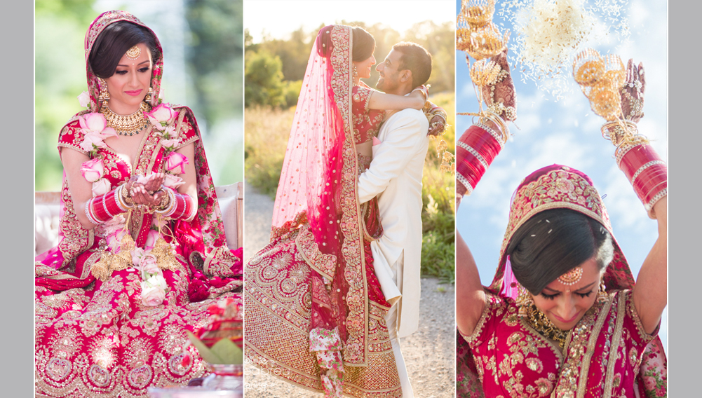 indian bride wearing red dress, hindu ceremony, bride throwing rice over her head