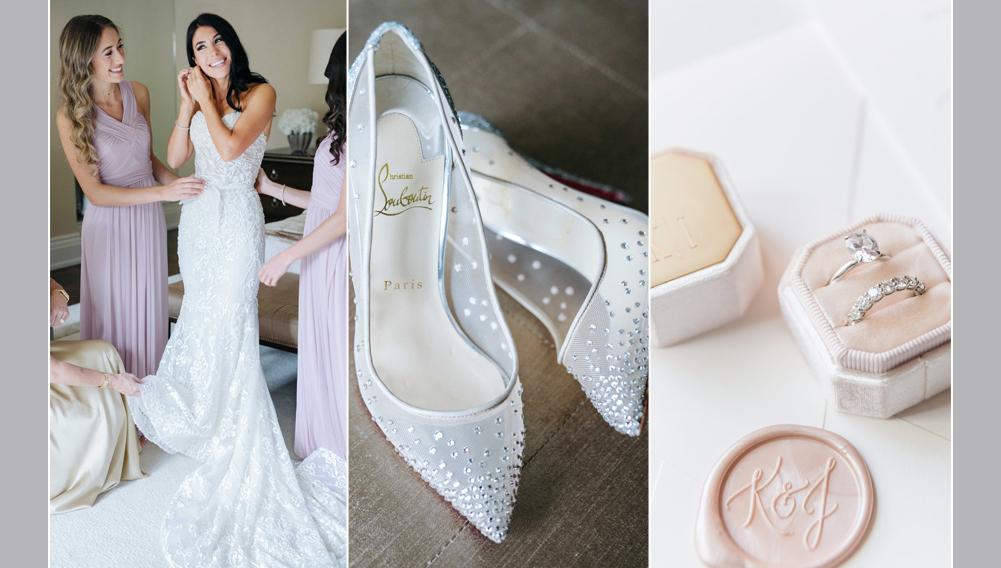 bride getting ready for her wedding day, wedding shoes, wedding ring box , box is blush coloured velvet with monogram